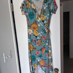 Floral High-Low Wrap Dress - Blooms In The City